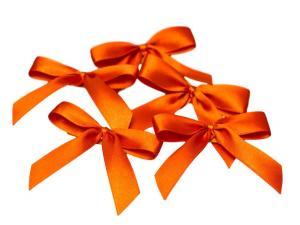 Fertigschleife 2-Flügel orange 15mm 25 Stück - im Bänder Großhandel günstig kaufen!