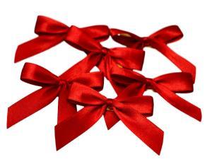 Fertigschleife 2-Flügel rot 15mm 25 Stück - im Bänder Großhandel günstig kaufen!