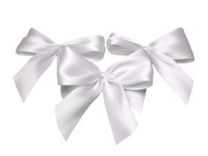 Fertigschleife 2-Flügel weiß 25mm 25 Stück im Bänder Online-Shop günstig kaufen