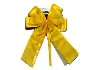 Fertigschleife 6-Flügel mit Satinband gelb 10 Stück - im Bänder Großhandel günstig kaufen!