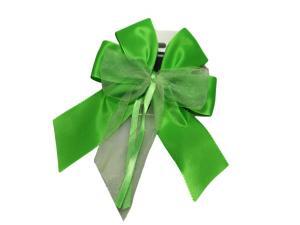 Fertigschleife 6-Flügel mit Satinband hellgrün 10 Stück - im Bänder Großhandel günstig kaufen!