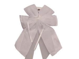 Fertigschleife 6-Flügel mit Satinband weiß 10 Stück - im Bänder Großhandel günstig kaufen!