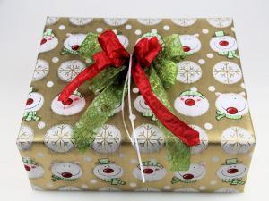 Geschenkpapier-Set Schneemann gold - Geschenkband günstig online kaufen!