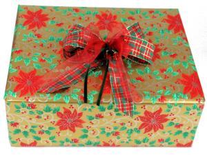 Geschenkpapier-Set  Weihnachtsstern rot - Schleifenband günstig online kaufen!