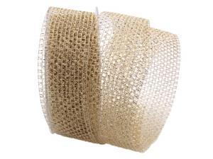 Gitterband Glitzer Gold ohne Draht 40mm