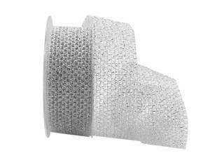 Gitterband Glitzer Silber ohne Draht 40mm