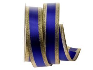 Goldband mit Satinstreifen Blau mit Draht 40mm