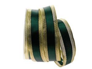 Goldband mit Satinstreifen Dunkelgrün mit Draht 40mm