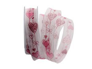 Herzband Cuore rot / pink 25mm mit Angelschnur