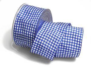 Karoband Landhauskaro blau 65mm mit Draht