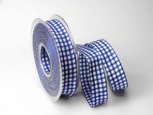Karoband Landhauskaro Blau mit Draht 25mm