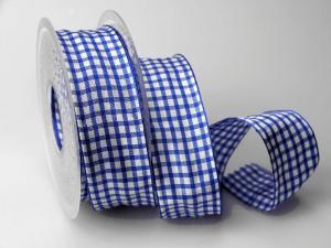 Karoband Landhauskaro Blau mit Draht 40mm