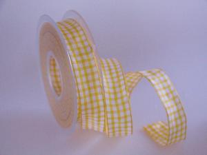 Karoband Landhauskaro Gelb mit Draht 25mm