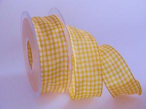 Karoband Landhauskaro Gelb mit Draht 40mm
