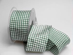 Karoband Landhauskaro grün 65mm mit Draht