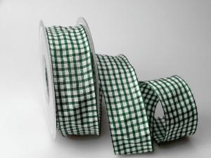 Karoband Landhauskaro Grün mit Draht 40mm