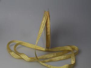 Karoband Landhauskarobändchen Gelb ohne Draht 10mm