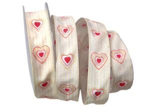 Motivband Antik Heart 25mm creme mit Draht
