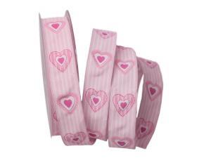 Motivband Antik Heart 25mm rosa mit Draht