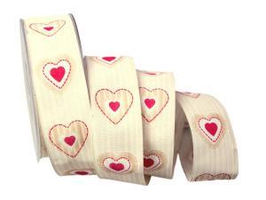 Motivband Antik Heart 40mm creme mit Draht