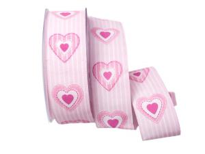 Motivband Antik Heart 40mm rosa mit Draht