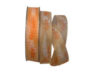 Motivband Farn 25mm orange mit Draht