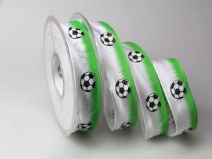 Motivband Fussball grün 25mm mit Draht - Geschenkband günstig online kaufen!