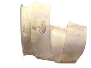 Motivband goldenes Herz creme 40mm mit Draht
