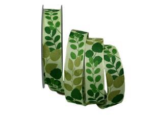 Motivband Herbstblätter grün 25mm mit Draht