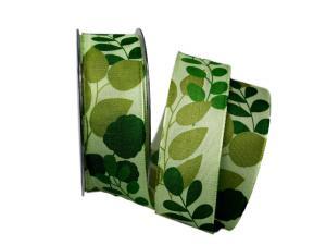 Motivband Herbstblätter grün 40mm mit Draht