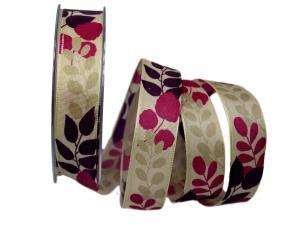 Motivband Herbstblätter lila  25mm mit Draht