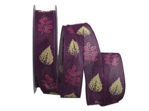 Motivband Herbstlaub lila 25mm mit Draht