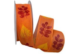 Motivband Herbstlaub orange 40mm mit Draht