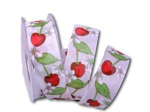 Motivband Kirschblüte Bordeaux Weiß mit Draht 40mm - Schleifenband günstig online kaufen!