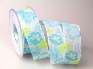 Motivband Light Flower türkis 40mm mit Draht - Geschenkband günstig online kaufen!