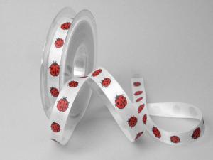 Motivband Marienkäfer 15mm weiß ohne Draht