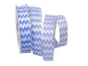 Motivband Modern Waves 25mm blau mit Draht - Schleifenband günstig online kaufen!