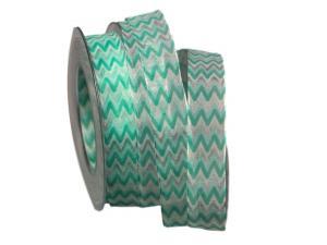 Motivband Modern Waves türkis 25mm mit Draht - Schleifenband günstig online kaufen!