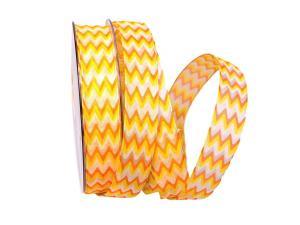 Motivband Modern Waves gelb 25mm mit Draht - Schleifenband günstig online kaufen!