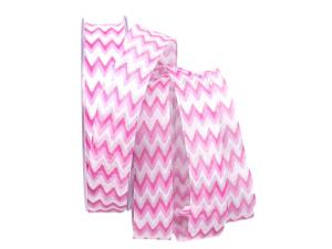 Motivband Modern Waves rosa 25mm mit Draht