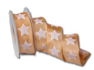 Motivband moderner Stern aprikot 40mm mit Draht
