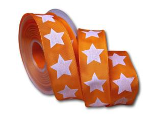 Motivband moderner Stern orange 40mm mit Draht