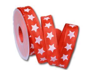 Motivband moderner Stern rot 25mm mit Draht