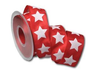 Motivband moderner Stern rot 40mm mit Draht