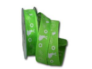 Motivband Osterwiese hellgrün 25mm mit Draht