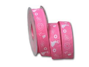 Motivband Osterwiese rosa 25mm mit Draht