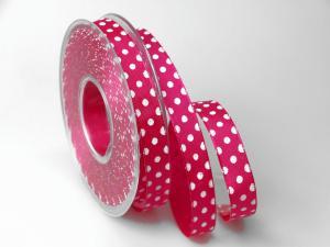 Motivband Punkteband pink mit Draht 15mm