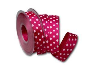 Motivband Punkteband pink mit Draht 25mm
