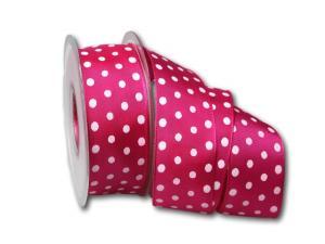 Motivband Punkteband pink mit Draht 40mm