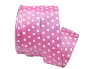 Motivband Punkteband pink / weiß 40mm mit Draht